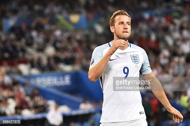 England's forward Harry Kane reacts after a missed chance during the Euro 2016 group B football match between England and Russia at the Stade...