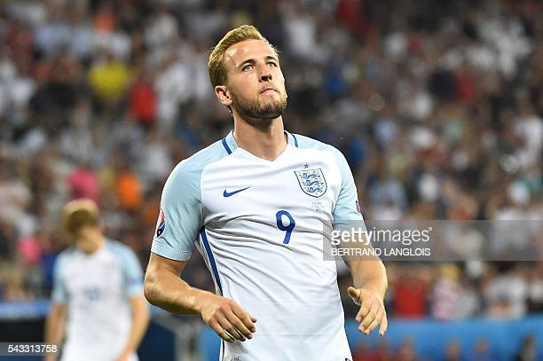 England's forward Harry Kane reacts during the Euro 2016 round of 16 football match between England and Iceland at the Allianz Riviera stadium in...