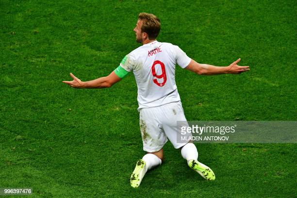 England's forward Harry Kane reacts during the Russia 2018 World Cup semifinal football match between Croatia and England at the Luzhniki Stadium in...
