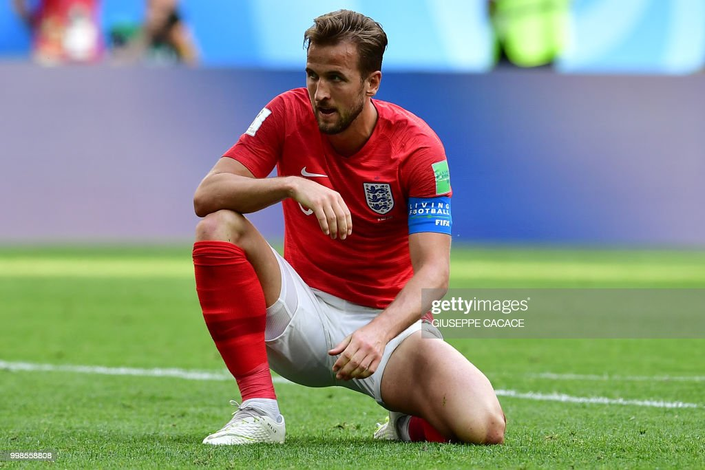 England's forward Harry Kane reacts on the pitch during their Russia 2018 World Cup play-off for third place football match between Belgium and England at the Saint Petersburg Stadium in Saint Petersburg on July 14, 2018. (Photo by Giuseppe CACACE / AFP) / RESTRICTED