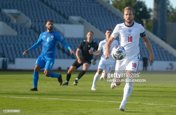 England's forward Harry Kane runs for the ball during the UEFA Nations League football match between Iceland v England on September 5, 2020 in...