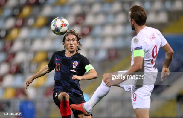 TOPSHOT England's forward Harry Kane vies with Croatia's midfielder Luka Modric during the UEFA Nations League football match between Croatia and...