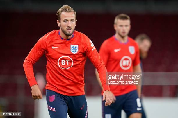 England's forward Harry Kane warms up prior to the UEFA Nations League football match between Denmark and England on September 8, 2020 in Copenhagen,...