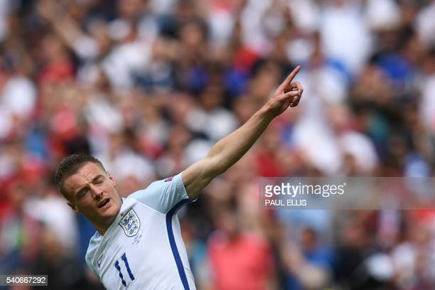 TOPSHOT England's forward Jamie Vardy celebrates after scoring a goal during the Euro 2016 group B football match between England and Wales at the...