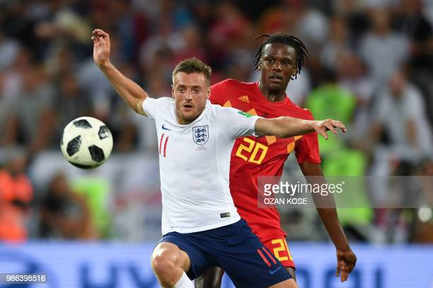 England's forward Jamie Vardy vies with Belgium's defender Dedryck Boyata during the Russia 2018 World Cup Group G football match between England and...