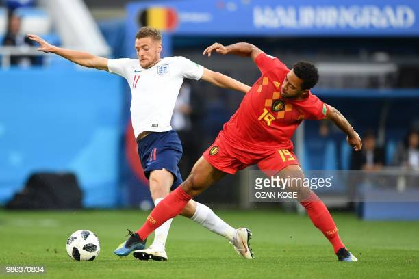TOPSHOT England's forward Jamie Vardy vies with Belgium's midfielder Moussa Dembele during the Russia 2018 World Cup Group G football match between...