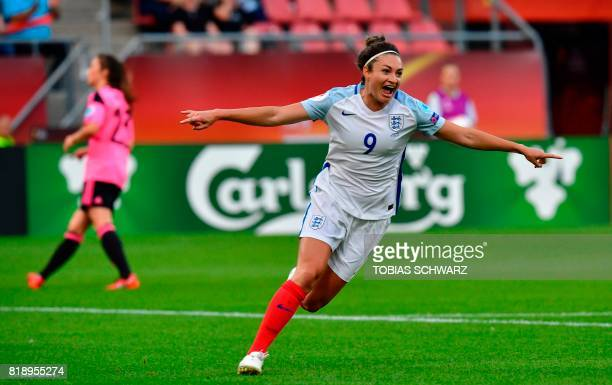 England's forward Jodie Taylor celebrates after scoring during the UEFA Women's Euro 2017 football tournament match between England and Scotland at...