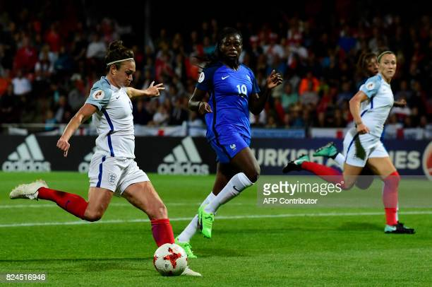 England's forward Jodie Taylor shoots and scores a goal during the UEFA Women's Euro 2017 tournament quarterfinal football match between England and...