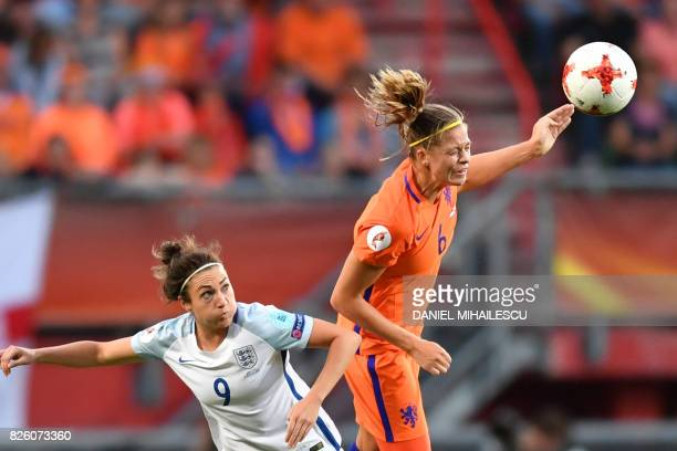 England's forward Jodie Taylor vies for the ball with Netherlands' defender Anouk Dekker during the UEFA Womens Euro 2017 football tournament...