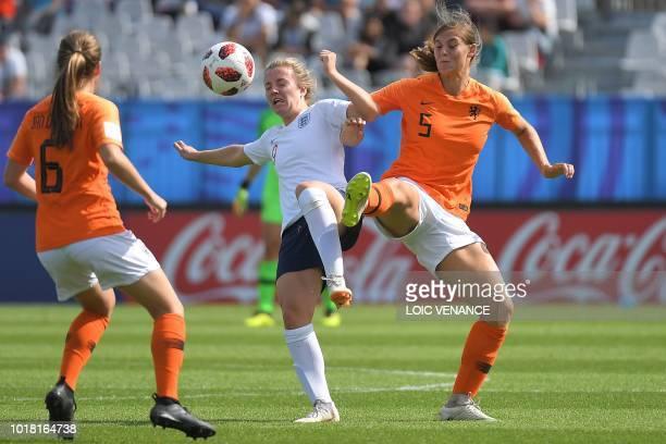 England's forward Lauren Hemp vies with Netherlands' defender Aniek Nouwen during the Women's U20 World Cup U20 quarter-final football match between...