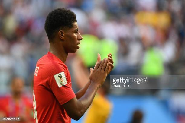 England's forward Marcus Rashford reacts after the team lost the Russia 2018 World Cup playoff for third place football match between Belgium and...