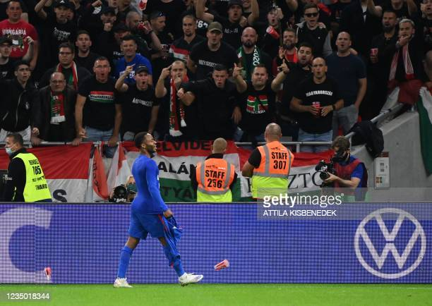 England's forward Raheem Sterling celebrates the 0-1 during the FIFA World Cup Qatar 2022 qualification Group I football match between Hungary and...