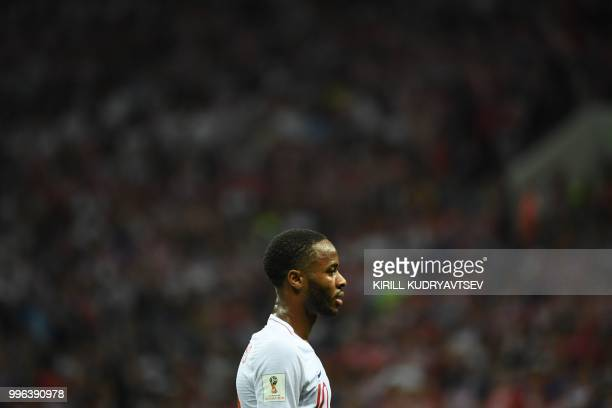 England's forward Raheem Sterling reacts during the Russia 2018 World Cup semi-final football match between Croatia and England at the Luzhniki...