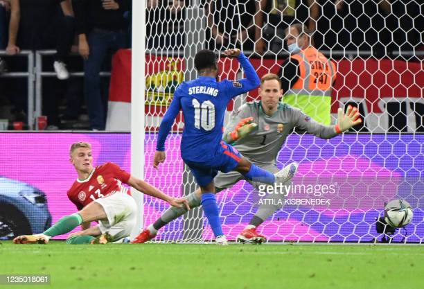England's forward Raheem Sterling scores the 0-1 during the FIFA World Cup Qatar 2022 qualification Group I football match between Hungary and...