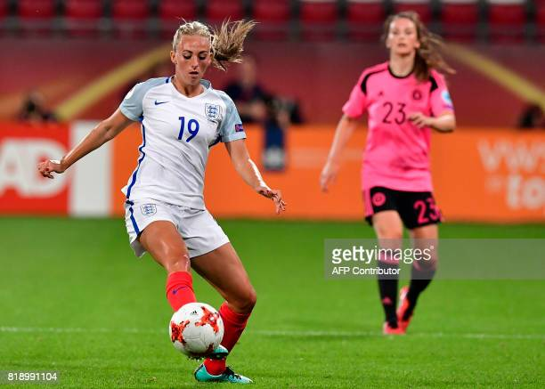 England's forward Toni Duggan controls the ball ahead of Scotland's defender Chloe Arthur during the UEFA Women's Euro 2017 football tournament match...