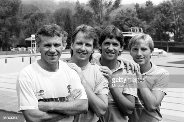 England's four Everton footballers pose together at the Reforma Club in Mexico City ahead of the match against Paraguay at the 1986 World Cup...