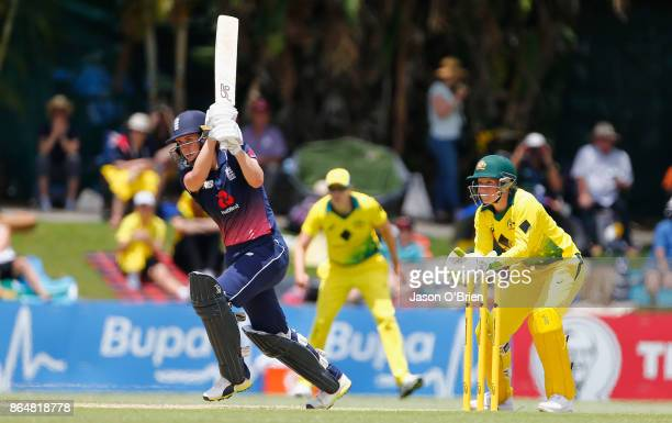 England's Fran Wilsonplays a shot during the Women's One Day International between Australia and England at Allan Border Field on October 22 2017 in...