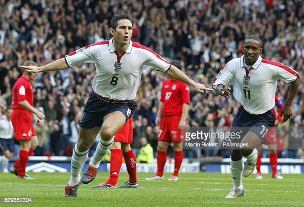 England's Frank Lampard celebrates his opening goal against Wales during their World Cup qualifying Group six match at Old Trafford, Manchester. THIS...