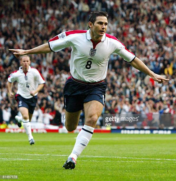 England's Frank Lampard celebrates scoring against Wales during their World Cup Qualifing match at Old Trafford in Manchester England 09 October 2004...