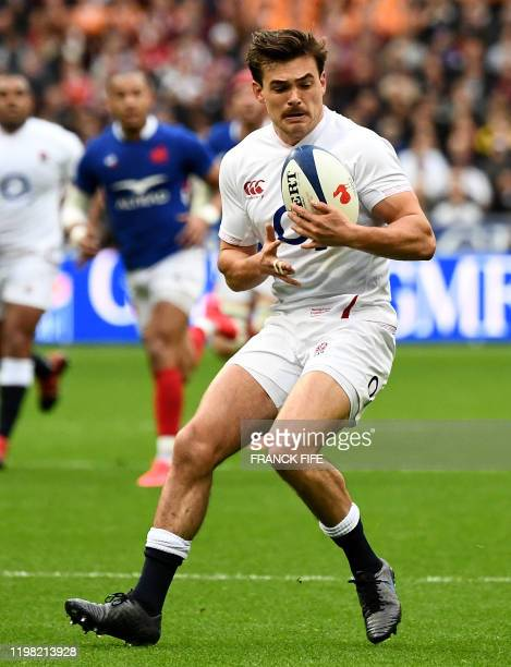 England's full back George Furbank grabs the ball during the Six Nations tournament rugby union match between France and England at the stade de...