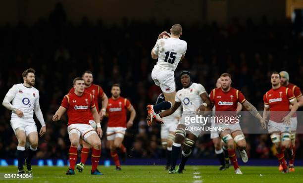 TOPSHOT England's full back Mike Brown catches a high ball during the Six Nations international rugby union match between Wales and England at the...