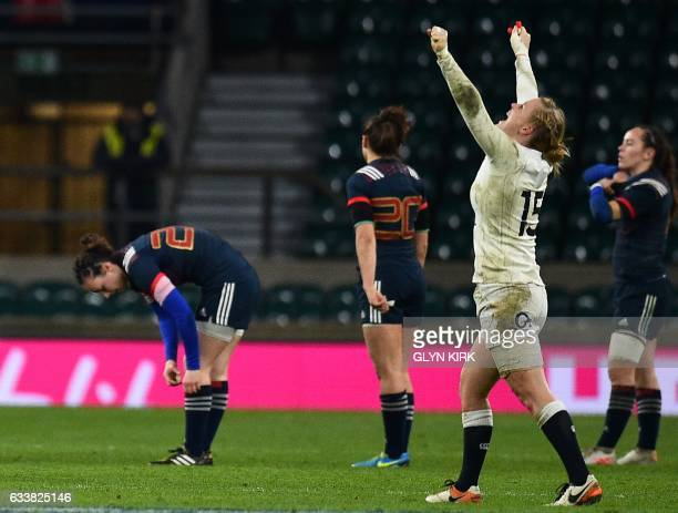 England's fullback Danielle Waterman celebrates England's victory on the pitch after the Six Nations international women's rugby union match between...