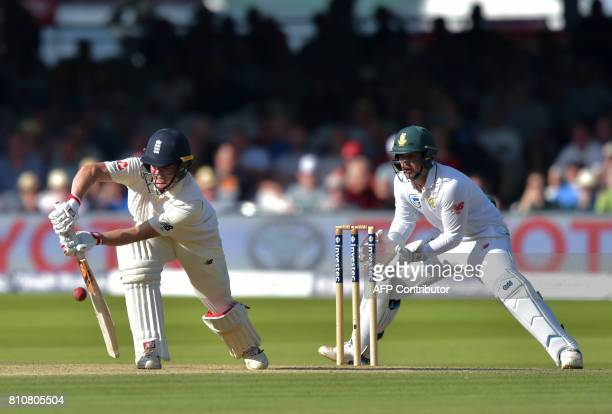 England's Gary Balance bats as South Africa's Quinton de Kock looks on during the third day of the first Test match between England and South Africa...