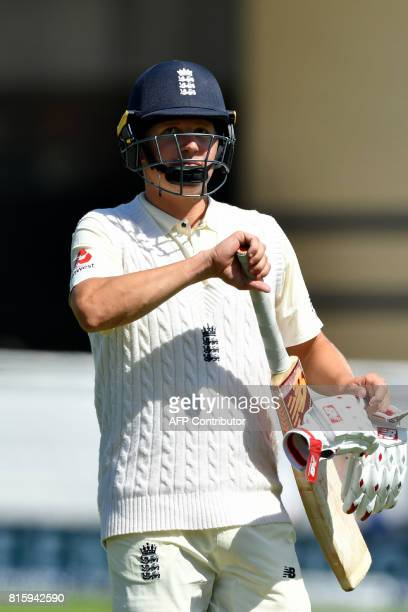 England's Gary Balance leaves the field after being given out on review for 4 runs on the fourth day of the second Test match between England and...