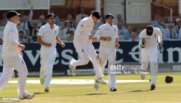 England's Gary Ballance Alastair Cook Joe Root and Ian Bell celebrate after Matt Prior took the catch of India's Cheteshwar Pujara during day three...