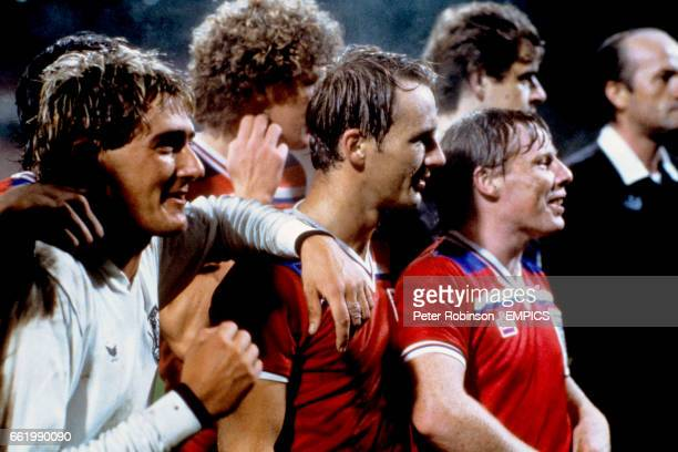England's Gary Owen Tommy Caton Paul Goddard and Sammy Lee celebrate winning the European Under21 Championship