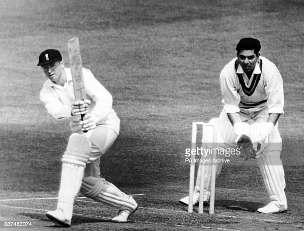 England's Geoff Boycott at bat watched by India wicketkeeper Farokh Engineer