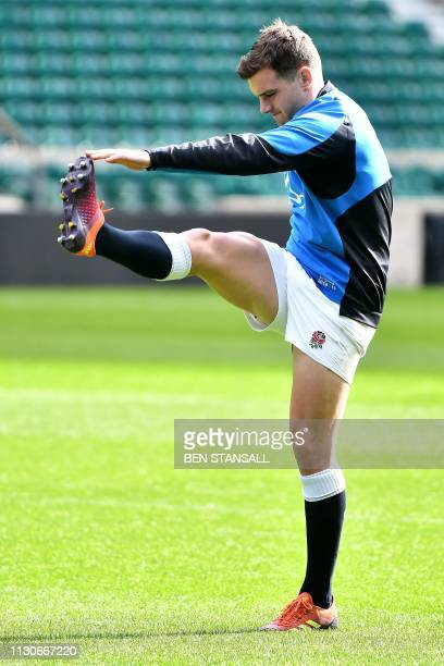 England's George Ford attends the captain's run training session at Twickenham stadium in south west London on March 15 on the eve of their Six...