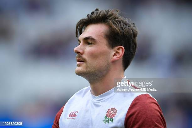 England's George Furbank during the pre match warm up before the 2020 Guinness Six Nations match between France and England at Stade de France on...