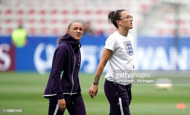 England's Georgia Stanway and Lucy Bronze inspect the pitch prior to the FIFA Women's World Cup Group D match at the Stade de Nice