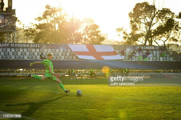Englands goalkeeper Aaron Ramsdale kicks the ball during the UEFA Under21 Championship Group D football match between England and Croatia at the...