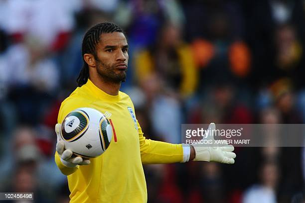 England's goalkeeper David James reacts during the 2010 World Cup round of 16 football match Germany vs England on June 27 2010 at Free State stadium...