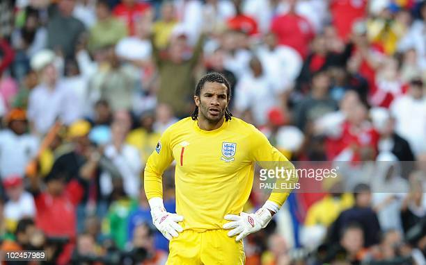 England's goalkeeper David James reacts during the 2010 World Cup round of 16 football match England versus Germany on June 27, 2010 at Free State...