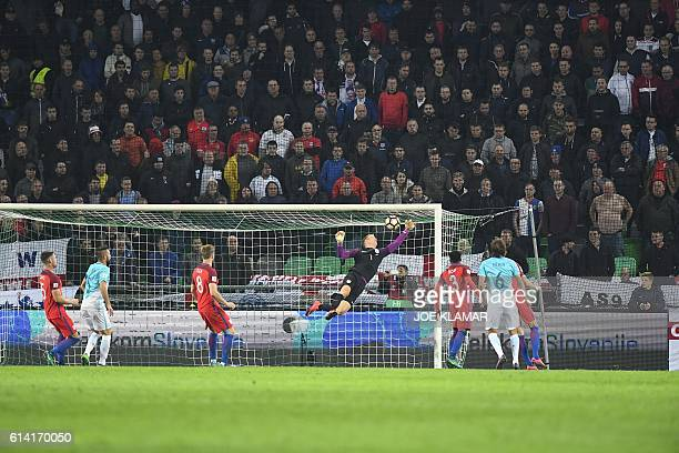 England's goalkeeper Joe Hart makes a save during the World Cup 2018 football qualification match between Slovenia and England in Ljubljana Slovenia...