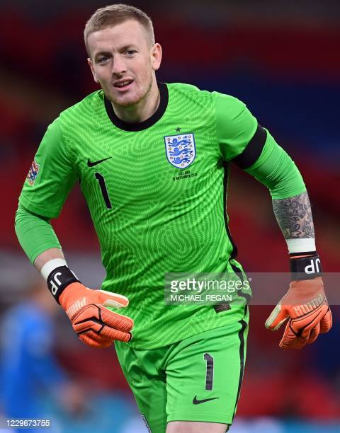 England's goalkeeper Jordan Pickford during the UEFA Nations League group A2 football match between England and Iceland at Wembley stadium in north...