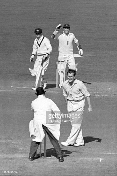 England's Godfrey Evans and Jim Laker appeal for the wicket of Australia's Laurie Maddocks who was trapped lbw for 2
