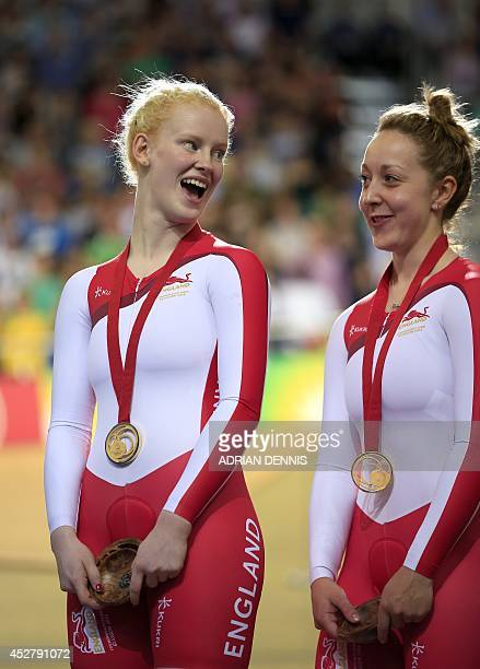 England's gold medalist Sophie Thornhill and Helen Scott pose on the podium after winning the women's 1000m time trial B2 tandem track cycling event...