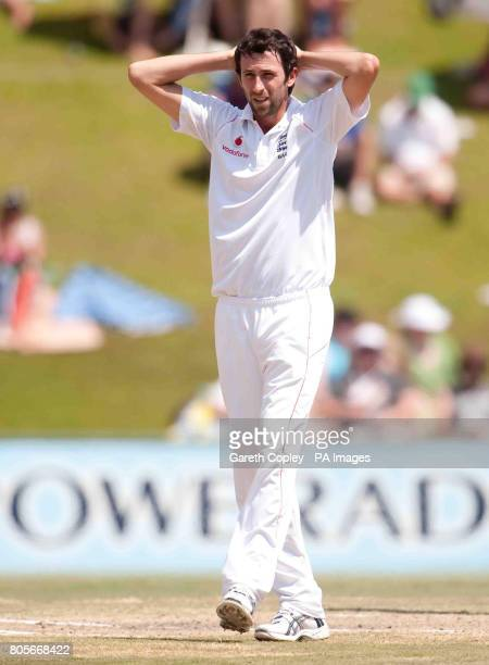 England's Graham Onions reacts after an unsuccessful appeal for the wicket of South Africa's AB deVilliers during the First Test at the SuperSport...