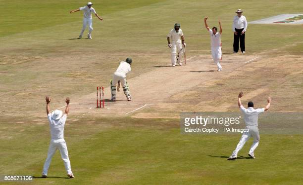 England's Graham Onions unsuccessfully appeals for the wicket of South Africa's AB deVilliers which was reviewed and given not out during the First...