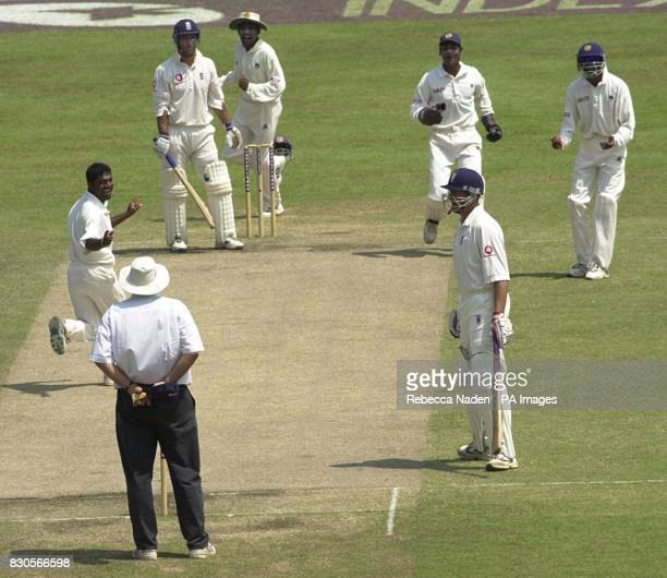 England's Graham Thorpe is given not out by umpire David Orchard from a bat pad catch during the 3rd Test at the Sinhalese Sports Club Colombo Sri...