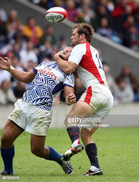 England's Greg Barden high tackles Samoa's Alafoti Fa'osiliva during the Edinburgh Sevens Weekend at Murrayfield Edinburgh