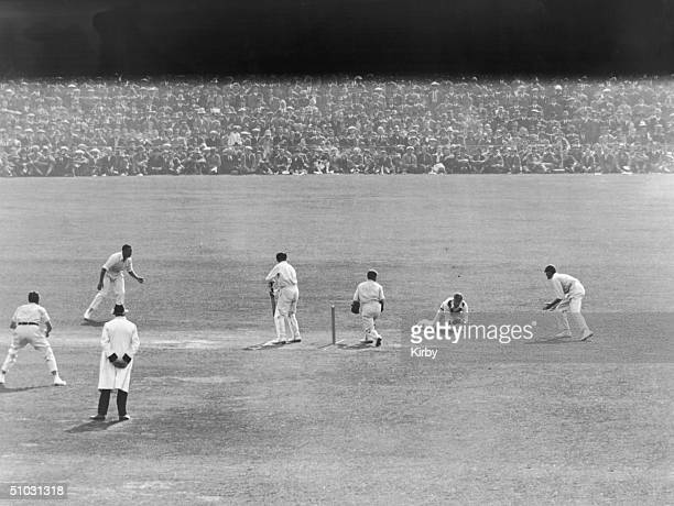 England's Harold Larwood catches Australia's Bill Ponsford in the slips during the 4th day of the Final Test at the Oval, London, England, 8th...