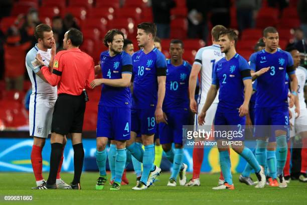 England's Harry Kane appeals to match referee Antonio Miguel Mateu Lahoz during the International Friendly match at Wembley Stadium London