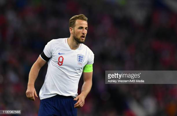 England's Harry Kane looks on during the 2020 UEFA European Championships group A qualifying match between England and Czech Republic at Wembley...