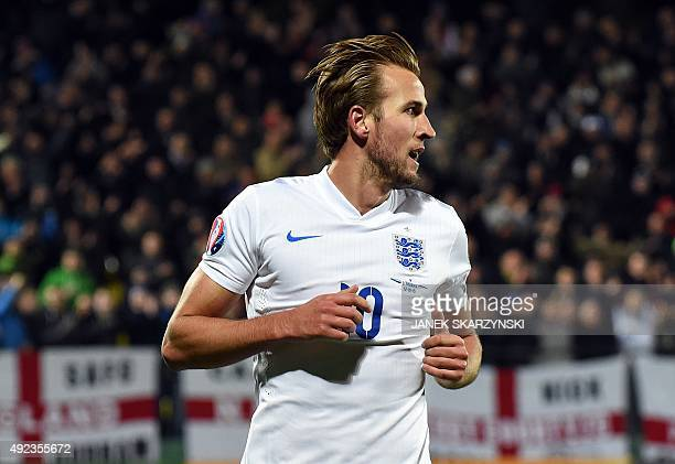 England's Harry Kane reacts after scoring a goal during the Euro 2016 Group E qualifying football match between Lithuania and England at LFF stadium...