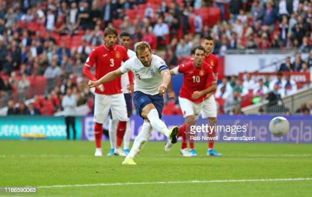 England's Harry Kane scores his side's fourth goal from the penalty spot during the UEFA Euro 2020 qualifier match between England and Bulgaria at...